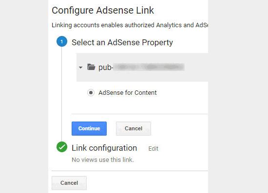 Sélectionnez et liez la propriété AdSense