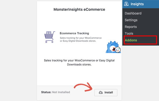 Addon de commerce électronique de MonsterInsights