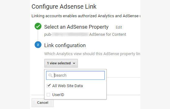 Configuration du lien Adsense