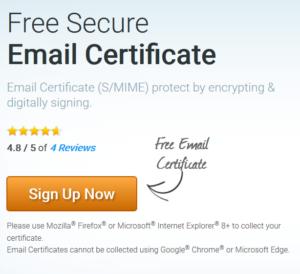 Certificat e-mail gratuit