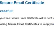 Certificat e-mail gratuit inscription validée