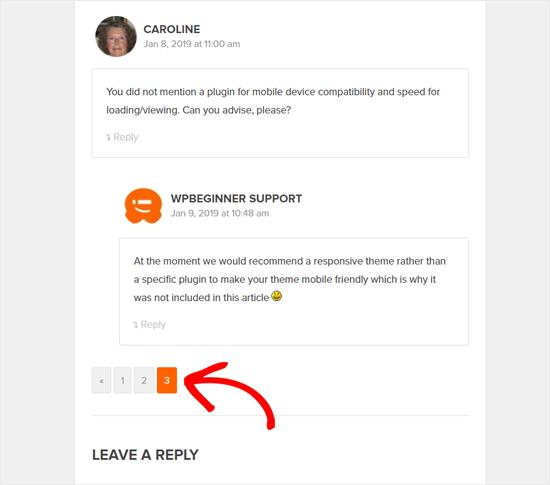 Commentaires WordPress Pagination dans WPBeginner