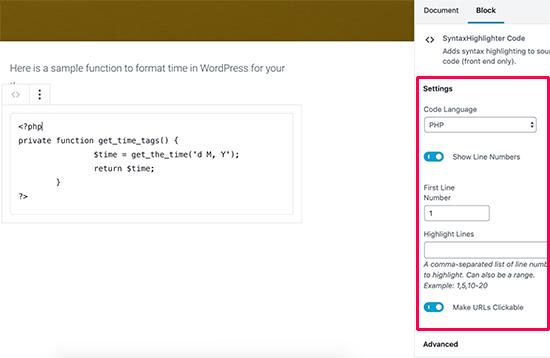 Paramètres de blocage de code SyntaxHighlighter