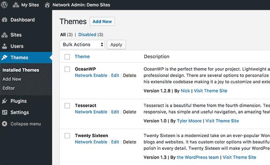 Thèmes installés sur votre réseau multisite WordPress