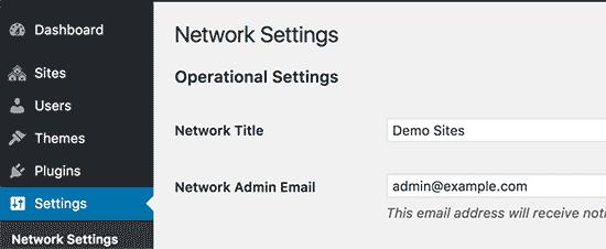 Paramètres réseau