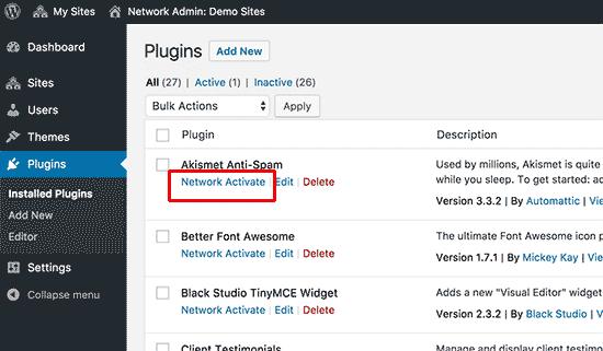 Réseau activer les plugins sur un multisite WordPress
