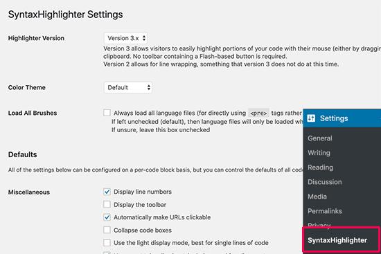 Paramètres SyntaxHighlighter