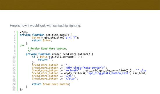 Code affiché avec mise en évidence de la syntaxe