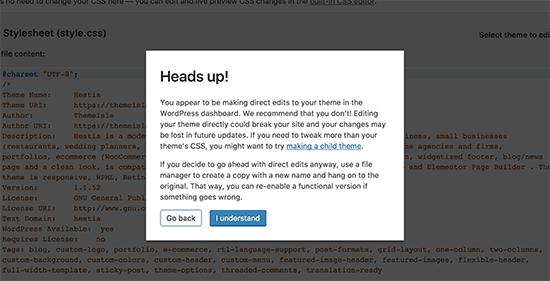 Avertissement de l'éditeur de thème dans WordPress