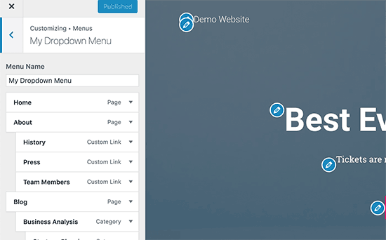 Personnaliser les menus WordPress avec un aperçu en direct