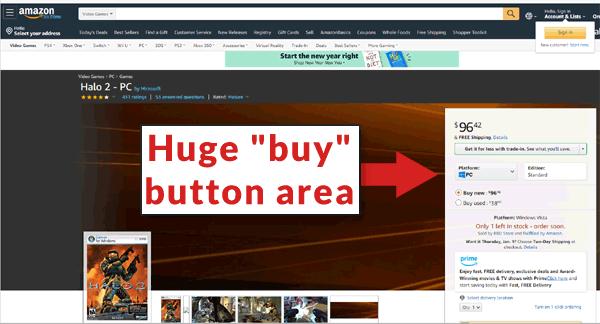 capture d'écran d'un énorme bouton d'achat sur amazon.com