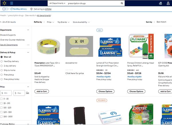 Capture d'écran du site Walmart